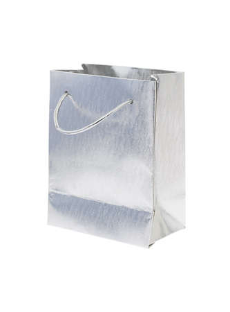 Silver gift bag on white background photo