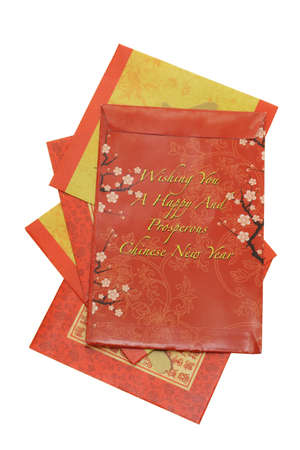 Chinese New Year red packets on white background Stock Photo - 10412172