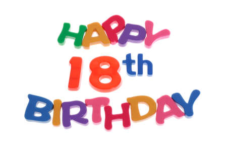 18th: Happy 18th Birthday letter blocks arranged on white background Stock Photo