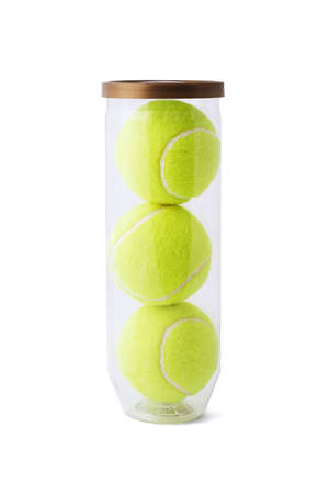 New tennis balls in plastic container on white background
