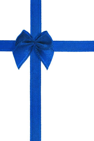 Decorative blue bow ribbon on white background