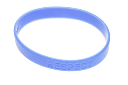 rubber bands: Word Respect on blue color wrist band