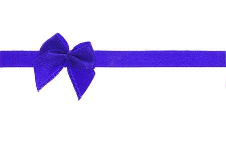 Decorative blue bow ribbon on white background photo