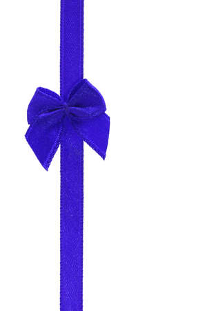 Decorative blue bow ribbon on white background photo