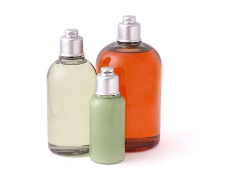 unlabelled: Three bottles of hygiene product on white background
