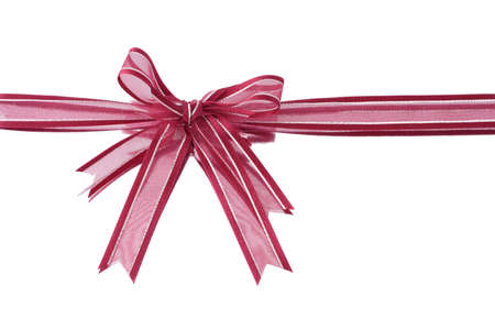 decorative accessories: Red decorative bow ribbon on white reflective background Stock Photo