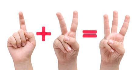 Children fingers showing one plus two equal three  photo