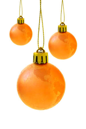 Christmas globe baubles on white background photo