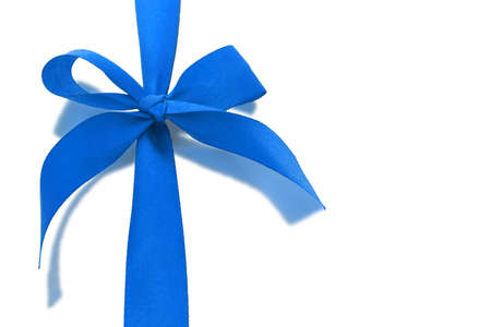 Blue decorative bow ribbon with relection on white background
