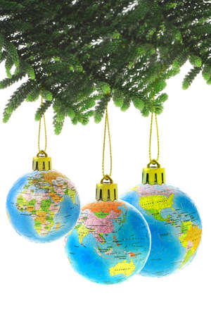 Three Chirstmas globe ornaments on white background photo