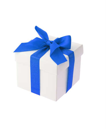 giftbox: White gift box with blue bow ribbon on white background
