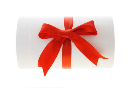 giftbox: Blank cylindrical shape gift box with red bow ribbon
