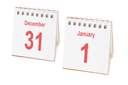 Desktop calendars showing last day and first day of the year photo