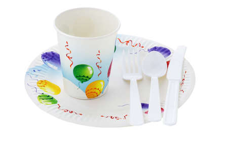 paper plates: Disposable cup, plate and cutlery on white background