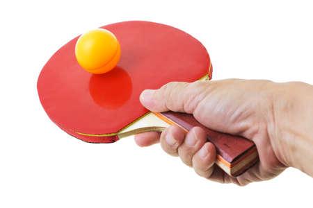 Hand hodling table tennis bat balancing the ball Stock Photo