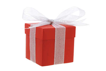 giftbox: Red gift box with white bow ribbon on white