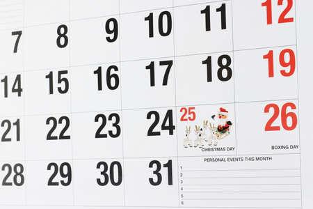 calendario diciembre: Página de calendario que muestra el 25 de diciembre día de Navidad y el 26 de diciembre Boxing Day  Foto de archivo