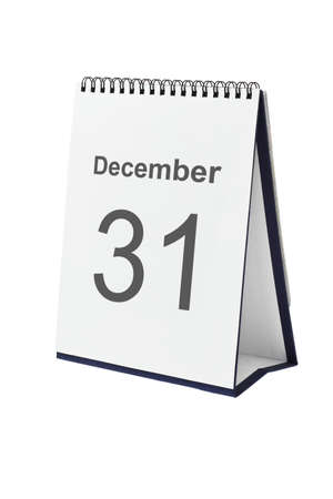 31: Desktop calendar showing December 31 isolated on white background