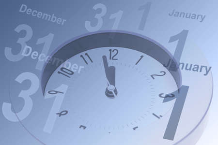 calendar day: Alarm clock count down to 12 mid night and calendar pages of December 31 to January 1 Stock Photo