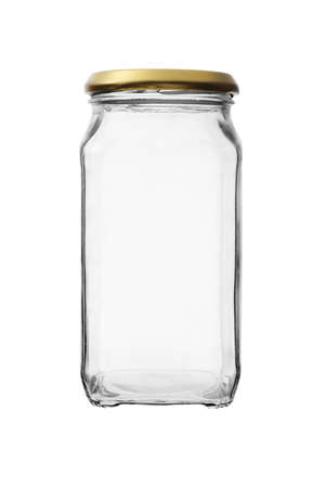 Empty glass jar against white background photo