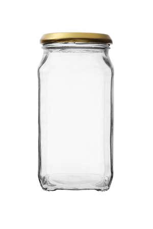 leere flaschen: Leeres Glas vor wei�em Hintergrund