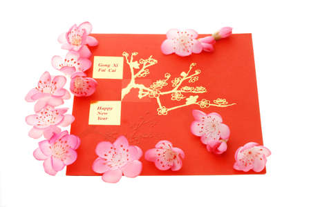 Chinese New Year greetings and plum blossom on white photo
