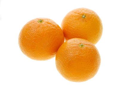 Three Chinese mandarin oranges on white background Stock Photo - 10457468
