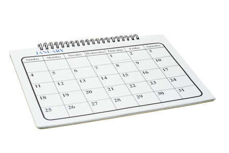Calendar page month of January on white Stock Photo - 10457408