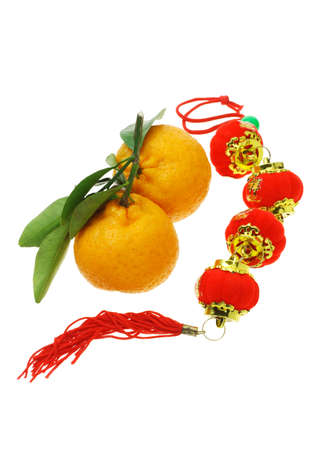 chinese new year food: Mandarin oranges and Chinese new year decorative latern ornaments