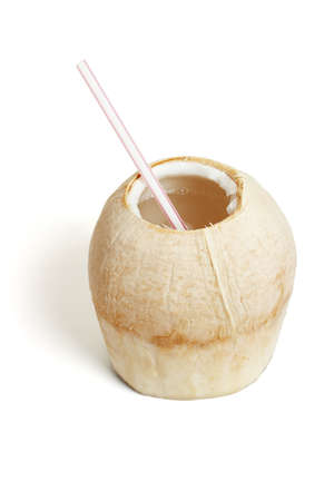 shaved: Fresh cool drink in shaved coconut shell on white background