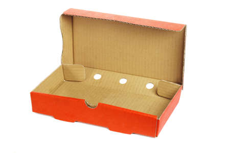 food distribution: Rectangular shape takeaway pizza box on white background