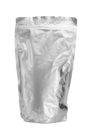 Sealed aluminum bag standing on white background photo