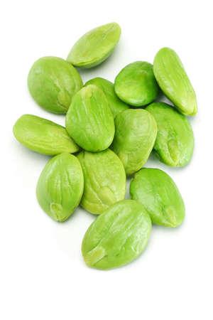the stinking: Tropical stinking edible beans on white background (Parkia Speciosa)