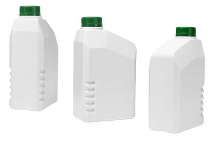 motor oil: Plastic containers for industrial use on white background