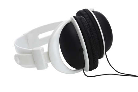 Black and white plastic stereo headphone on white background