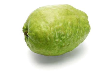 seedless: Fresh green guava fruit on white background