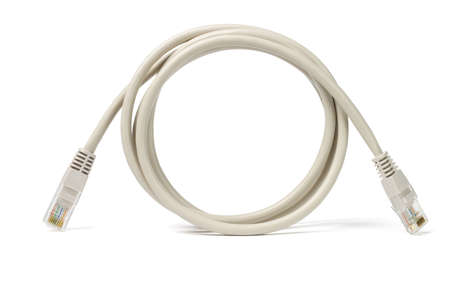 Close up of network cable and plugs on white background photo