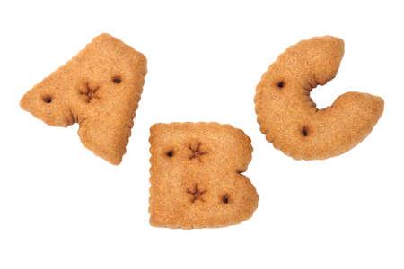 ABC alphabet chocolate cookies on white background photo