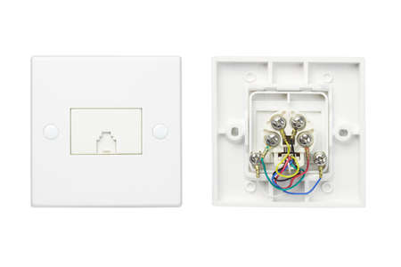 External and internal views of telephone wall sockets on white background photo