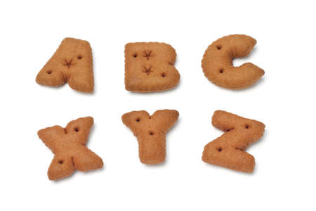 xyz: ABC XYZ alphabet chocolate cookies on white background Stock Photo