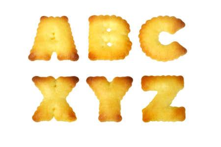 Alphabet cookies ABC abd XYZ on white background photo