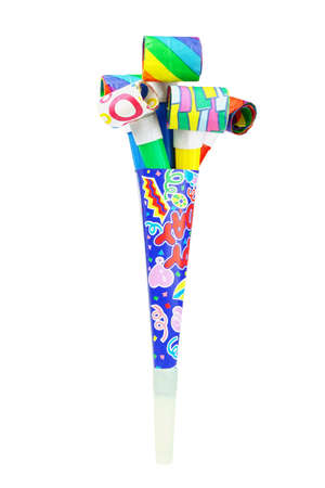 noisemaker: Multicolor party blowers inside paper horn on white background