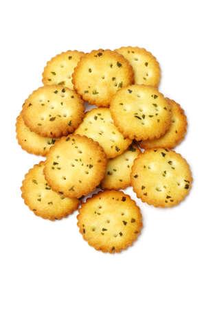 Fresh Crispy Vegetarian Cookies on White Background photo