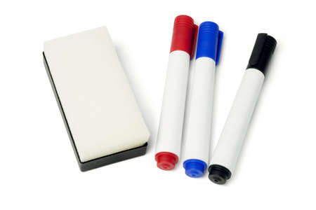 Color Whiteboard Marker Pens and Eraser on White Background photo
