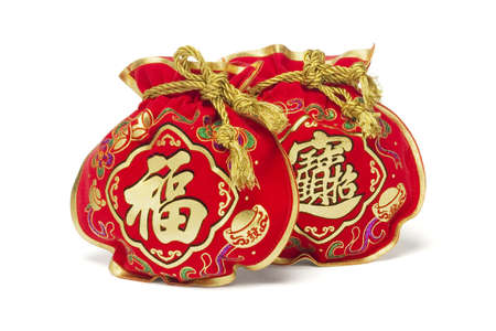 Two Chinese New Year Gift Bags on White Background