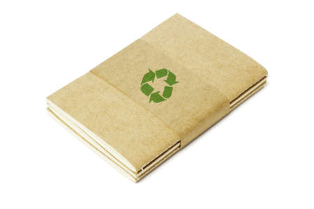 Thread Sew Books of Recycled Papers on White Background Stock Photo - 11971401