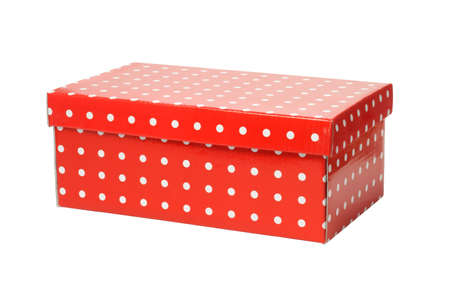 closed box: Closed Red Rectangle Gift Box on White Background Stock Photo