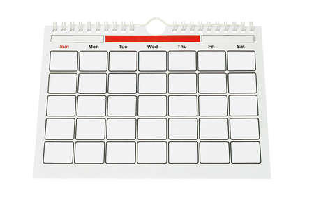 Calendar Page With Blank Boxes for Year, Month and Dates on White Background Stock Photo