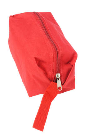 zipped: Red Hand Bag on White Background