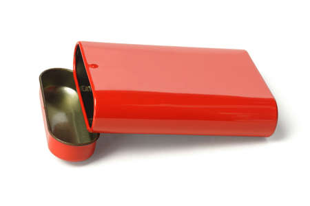 Open Red Metal Box on White Background Stock Photo - 12667258